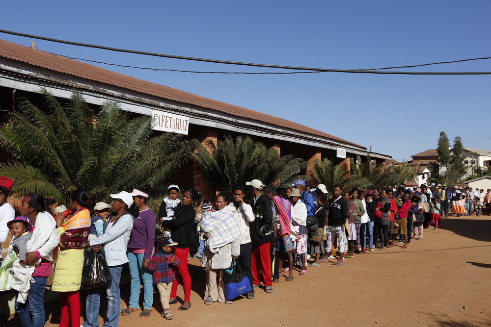 Patients queue to find out if they have been scheduled for surgery on the announcement day of Operation Smile's 2016 mission to Antsirabe. Madagascar. September 2016 (Operation Smile Photo - Zute Lightfoot)